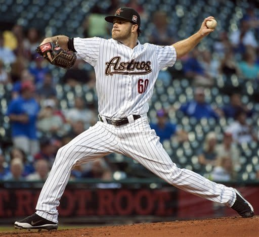 Houston Astros' Dallas Keuchel delivers a pitch during the second inning of a baseball game against the Chicago Cubs, Monday, Sept. 10, 2012, in Houston. (AP Photo/Dave Einsel)
