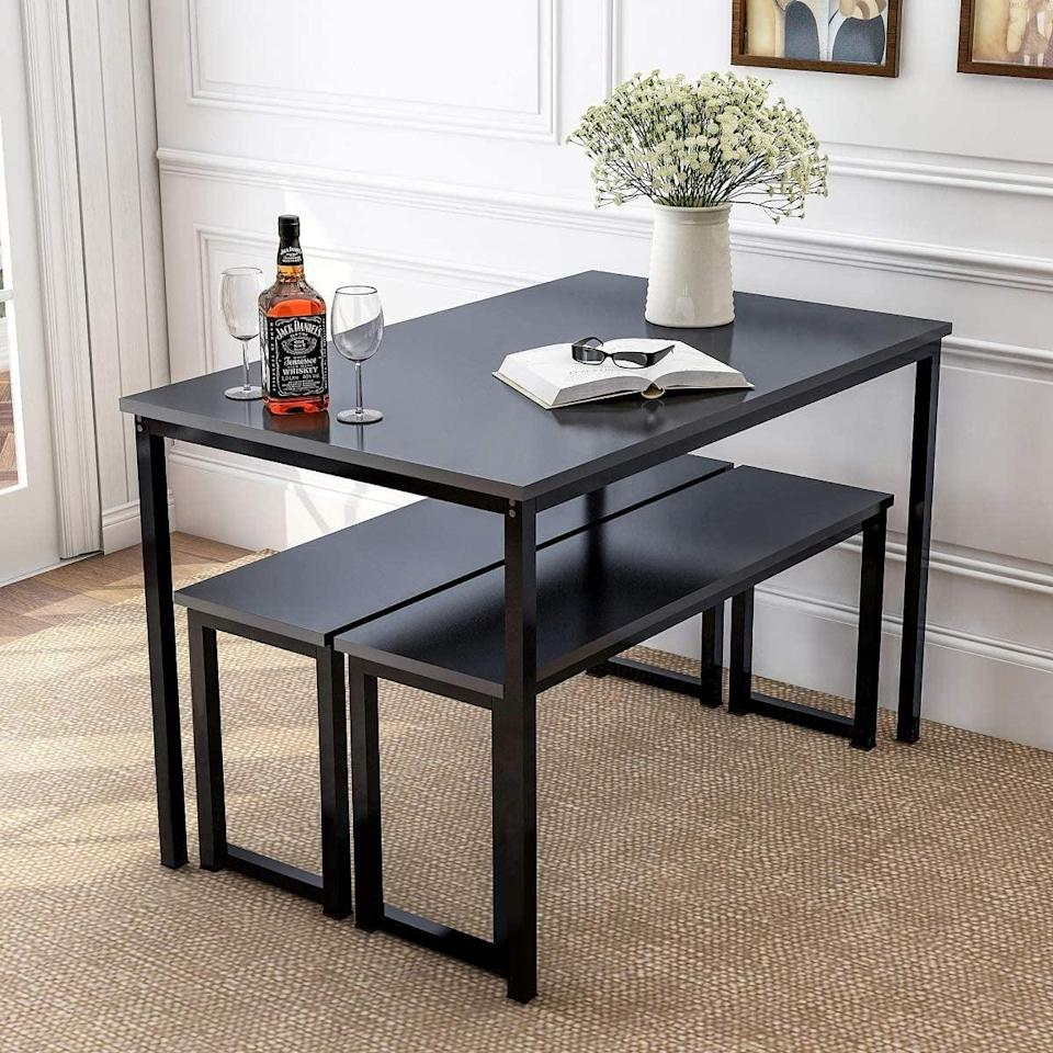 <p>This <span>Rhomtree 3-Piece Dining Set Table</span> ($160) is said to be anti-scratch and waterproof, which are bonus points in our book. It looks easy to clean, solid and durable.</p>
