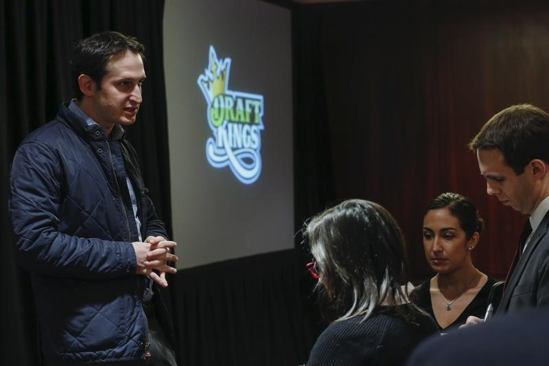DraftKings CEO Jason Robins speaks to the press at a fantasy sports conference in 2015. (Reuters)