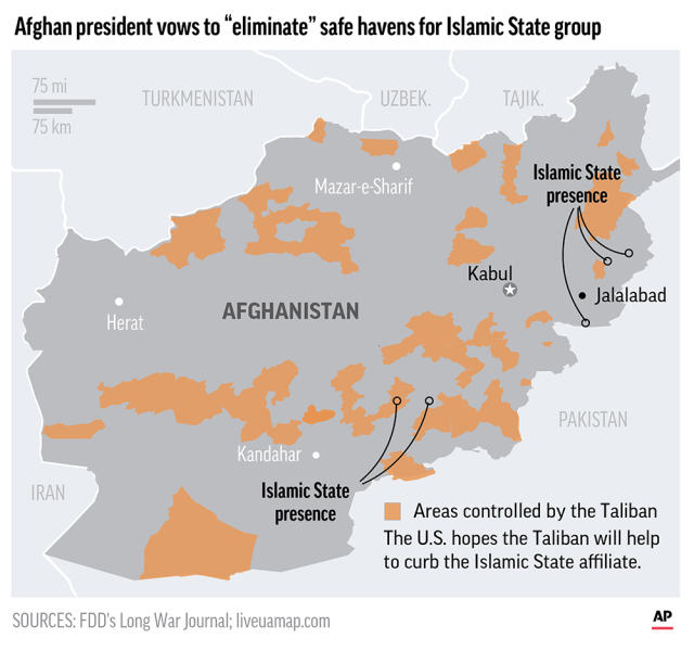 The U.S. hopes the Taliban will help it curb the Islamic state group.;