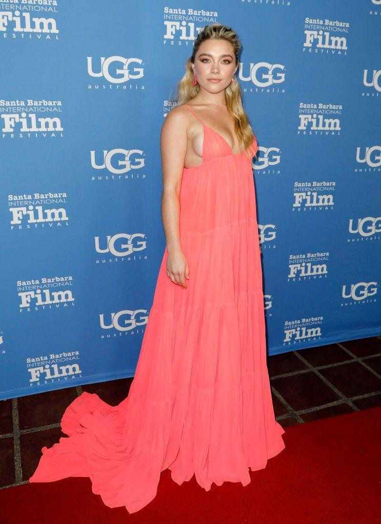 <p>The Black Widow star wore a coral maxi dress to the Virtuosos Award presentation, January 2020.</p>