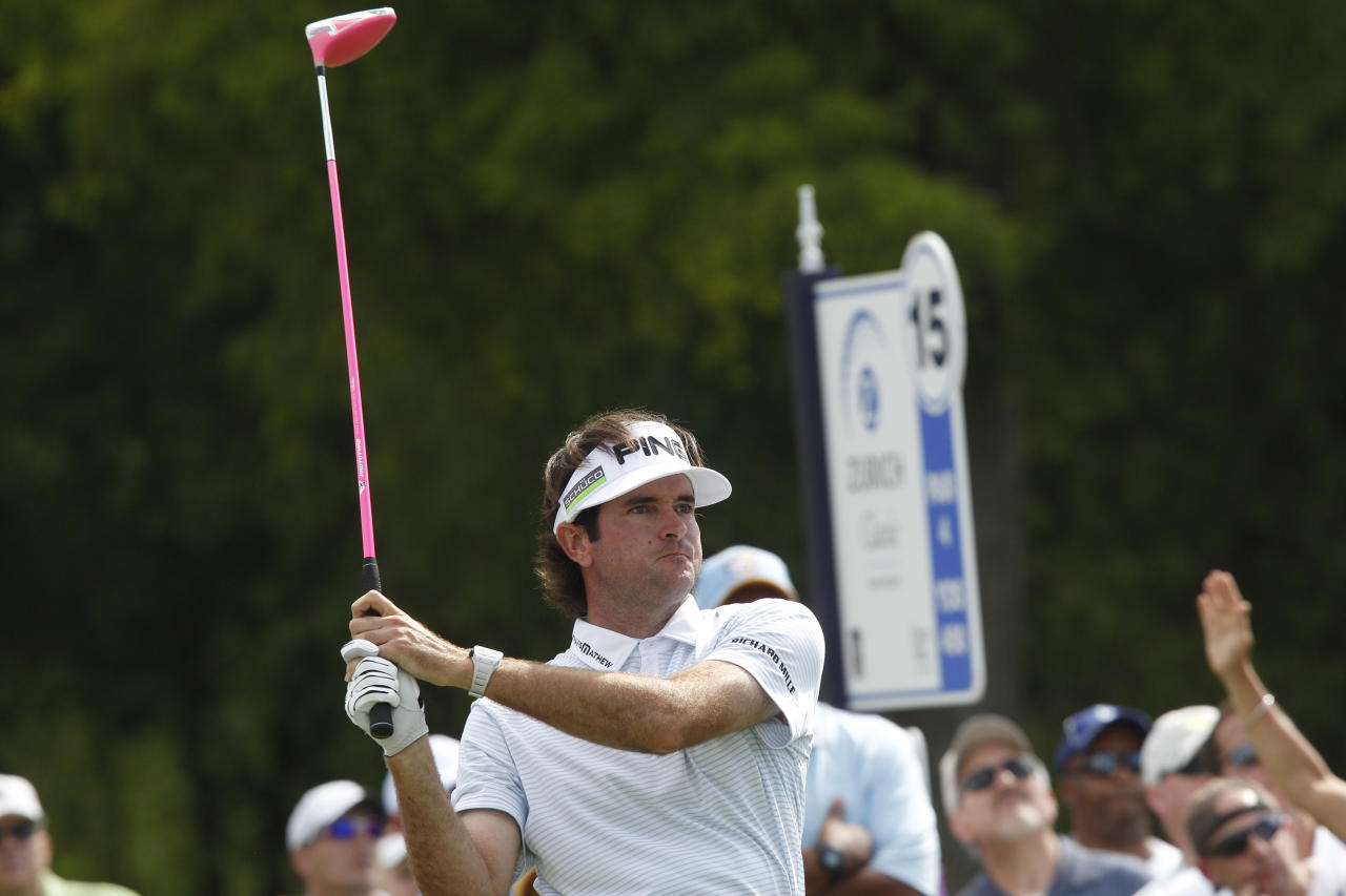 Bubba Watson watches his tee shot on the 15th hole in the second round of the Zurich Classic at the TPC Louisiana course in Avondale, La., Friday, April 27, 2012. (AP Photo/Bill Haber)