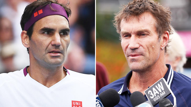 Pat Cash and Roger Federer, pictured here at the Australian Open in 2020.