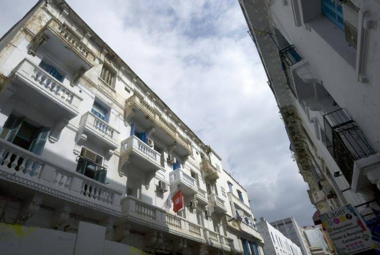 Balconies of a Tunis building dating back almost a century, at risk of collapse due to neglect and lack of funding (AFP/Fethi Belaid)