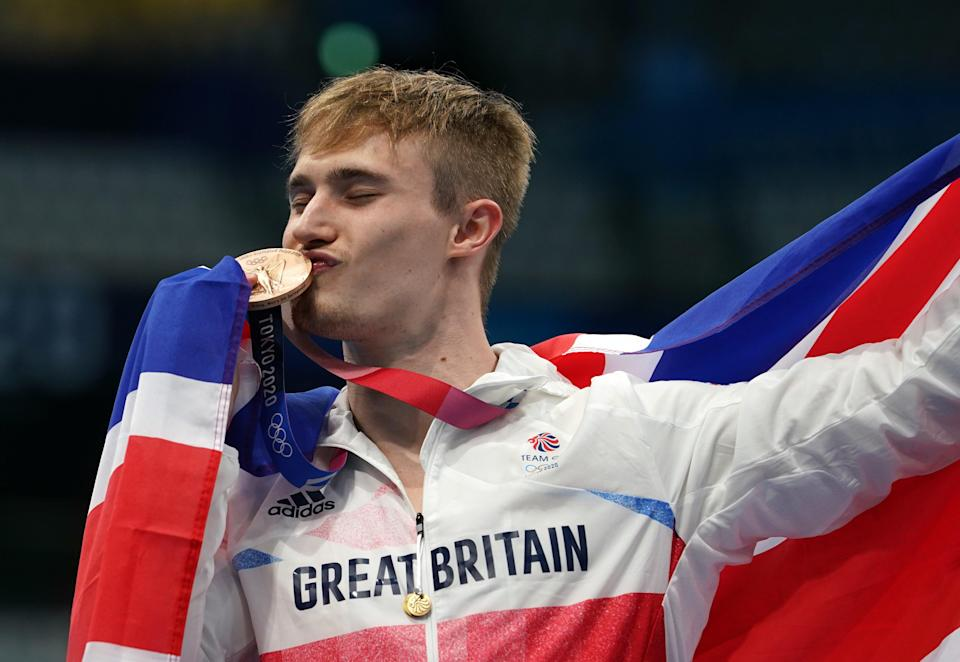 Great Britain's Jack Laugher celebrates winning the bronze medal (Martin Rickett/PA) (PA Wire)