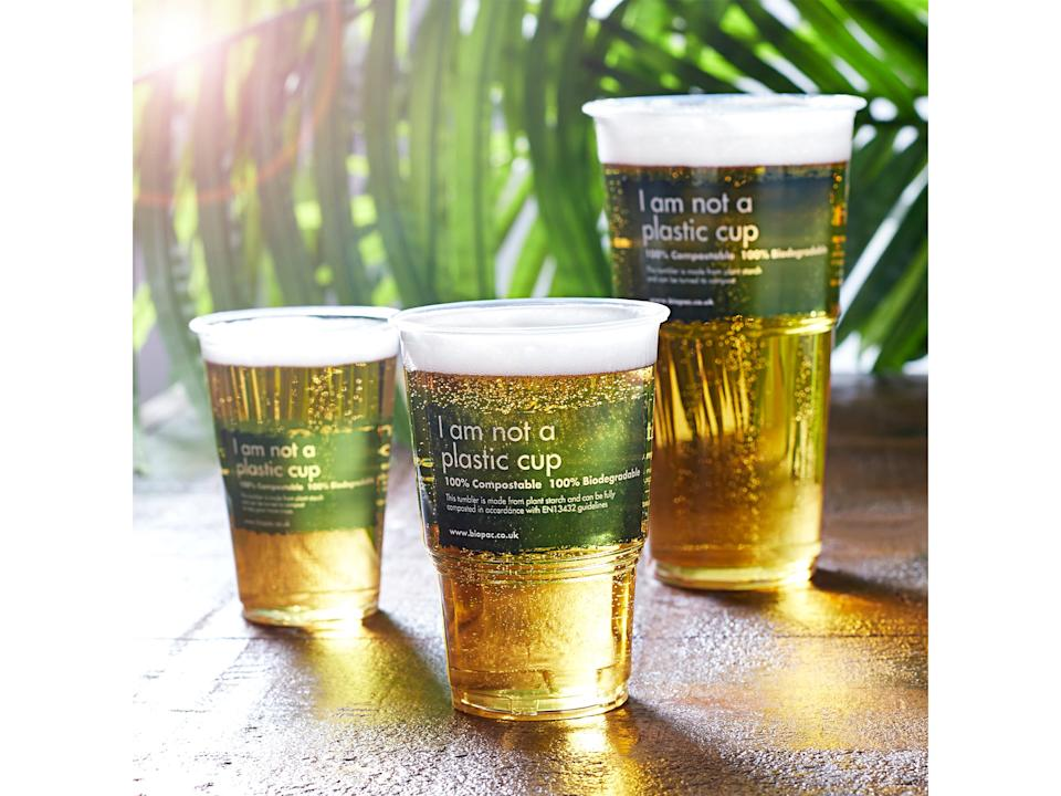 Make your trip to a newly reopened pub an environmentally friendly one with biodegradable pint glassesDrinkStuff