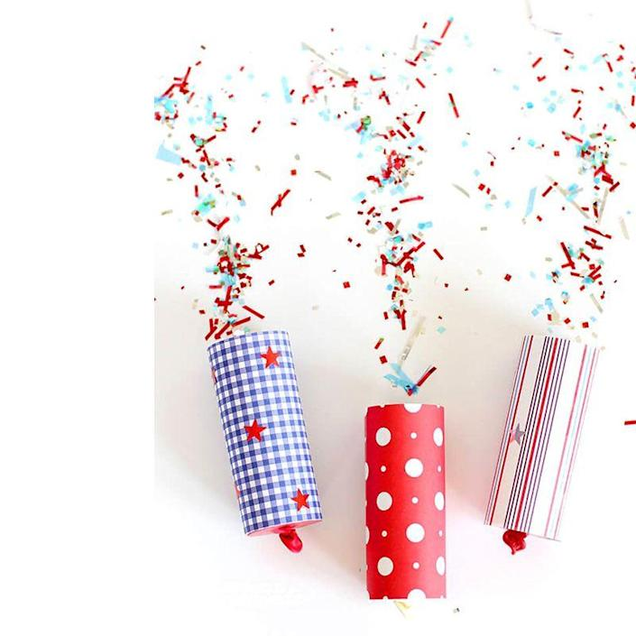 """<p>The kids will go bananas for these confetti poppers. Give one to each guests, and coordinate a time for everyone to set theirs off for one confetti-crazed moment.</p><p>Get the tutorial at <a href=""""https://www.happinessishomemade.net/diy-confetti-poppers-for-4th-of-july/"""" rel=""""nofollow noopener"""" target=""""_blank"""" data-ylk=""""slk:Happiness is Homemade"""" class=""""link rapid-noclick-resp"""">Happiness is Homemade</a>.</p><p><strong>What You'll Need: </strong><a href=""""https://www.amazon.com/Mefuny-Metallic-Patriotic-Independence-Decoration/dp/B07SFDW9CG/ref=sr_1_3?dchild=1&keywords=red+white+and+blue+confetti&qid=1593185968&sr=8-3&tag=syn-yahoo-20&ascsubtag=%5Bartid%7C10070.g.2446%5Bsrc%7Cyahoo-us"""" rel=""""nofollow noopener"""" target=""""_blank"""" data-ylk=""""slk:Confetti"""" class=""""link rapid-noclick-resp"""">Confetti </a>($12, Amazon); <a href=""""https://www.amazon.com/Pattern-Paper-Pack-Single-Sided-Collection/dp/B07B8CM233/ref=sr_1_1_sspa?dchild=1&keywords=patterned+paper&qid=1593186012&sr=8-1-spons&psc=1&spLa=ZW5jcnlwdGVkUXVhbGlmaWVyPUFFRUlEMUFRVElSSkUmZW5jcnlwdGVkSWQ9QTA1Njg4ODUxUFhIMTBLWVlLRjVNJmVuY3J5cHRlZEFkSWQ9QTA5NTU2MDcxSjlVTDlBMDJORTg1JndpZGdldE5hbWU9c3BfYXRmJmFjdGlvbj1jbGlja1JlZGlyZWN0JmRvTm90TG9nQ2xpY2s9dHJ1ZQ%3D%3D&tag=syn-yahoo-20&ascsubtag=%5Bartid%7C10070.g.2446%5Bsrc%7Cyahoo-us"""" rel=""""nofollow noopener"""" target=""""_blank"""" data-ylk=""""slk:patterned paper"""" class=""""link rapid-noclick-resp"""">patterned paper</a> ($15, Amazon); <a href=""""https://www.amazon.com/Creative-Balloons-Celebrity-Latex-Pastel/dp/B01FG1CCVC/ref=sr_1_2_sspa?dchild=1&keywords=9%22+balloons&qid=1593186050&sr=8-2-spons&psc=1&spLa=ZW5jcnlwdGVkUXVhbGlmaWVyPUE3RkRNTDdYTkVGOUgmZW5jcnlwdGVkSWQ9QTAyMTk0MjEyREpYWEFRWjZBU0hRJmVuY3J5cHRlZEFkSWQ9QTA2MDgwOTBRTTc2VlY0RjcwNEomd2lkZ2V0TmFtZT1zcF9hdGYmYWN0aW9uPWNsaWNrUmVkaXJlY3QmZG9Ob3RMb2dDbGljaz10cnVl&tag=syn-yahoo-20&ascsubtag=%5Bartid%7C10070.g.2446%5Bsrc%7Cyahoo-us"""" rel=""""nofollow noopener"""" target=""""_blank"""" data-ylk=""""slk:balloons"""" class=""""link rapid-noclick-resp"""">balloons</a> ($13, Am"""