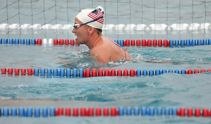 "U.S. women's water polo team member Kaleigh Gilchrist practices at Joint Forces Training Base in Los Alamitos. <span class=""copyright"">(Christina House/Los Angeles Times)</span>"