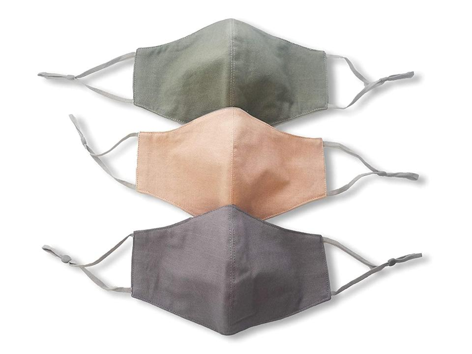 <p>The <span>HOPE LOVE SHINE Store Grey Green Peach Face Masks</span> ($17) has nose wires, filter pockets, and adjustable ear loops.</p>