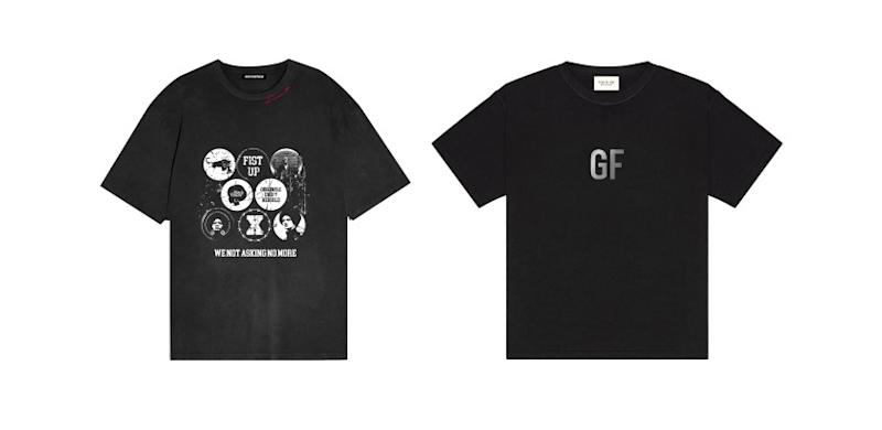 Composite of George Floyd tribute T-shirt by L.A. based Renowned LA (Rt) and by Fear Of God.