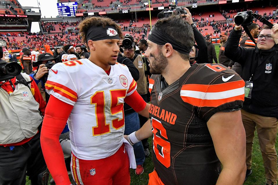 Kansas City Chiefs quarterback Patrick Mahomes and Cleveland Browns quarterback Baker Mayfield meet after the Chiefs' 37-21 win against the Browns on Sunday, Nov. 4, 2018 at FirstEnergy Stadium in Cleveland, Ohio. (John Sleezer/Kansas City Star/Tribune News Service via Getty Images)