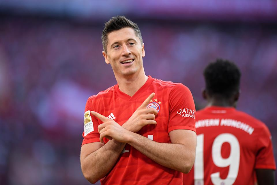 MUNICH, GERMANY - OCTOBER 26: Robert Lewandowski of FC Bayern Munich celebrates after scoring his team's second goal during the Bundesliga match between FC Bayern Muenchen and 1. FC Union Berlin at Allianz Arena on October 26, 2019 in Munich, Germany. (Photo by Sebastian Widmann/Bongarts/Getty Images)
