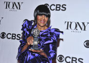 """FILE - Cicely Tyson poses with her award for best actress in a play for """"The Trip to Bountiful,"""" in the press room at the 67th Annual Tony Awards on June 9, 2013, in New York. Tyson, the pioneering Black actress who gained an Oscar nomination for her role as the sharecropper's wife in """"Sounder,"""" a Tony Award in 2013 at age 88 and touched TV viewers' hearts in """"The Autobiography of Miss Jane Pittman,"""" has died. She was 96. Tyson's death was announced by her family, via her manager Larry Thompson, who did not immediately provide additional details. (Photo by Charles Sykes/Invision/AP, File)"""