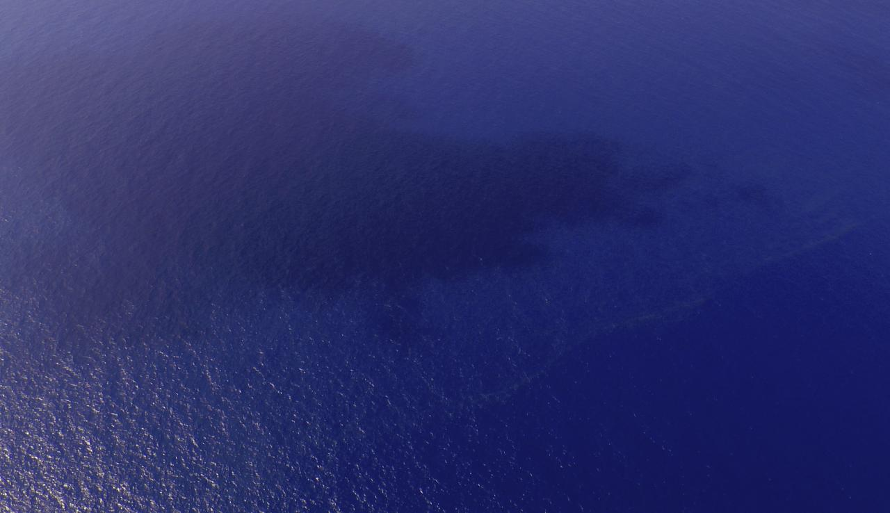 A view of oil slicks (pale line near the bottom right) spotted in an area of the South China Sea about 100 nautical miles (185 km) from Tok Bali Beach in Malaysia's Kelantan state March 9, 2014. The Malaysian Maritime Enforcement Agency said it is investigating the oil slicks to determine if they could have come from a missing Malaysia Airlines plane. The missing Malaysia Airlines jetliner may have turned back from its scheduled route before vanishing from radar screens, military officers said on Sunday, deepening the mystery surrounding the fate of the plane and the 239 people aboard. REUTERS/Malaysian Maritime Enforcement Agency/Handout via Reuters (TRANSPORT DISASTER) ATTENTION EDITORS - THIS IMAGE WAS PROVIDED BY A THIRD PARTY. FOR EDITORIAL USE ONLY. NOT FOR SALE FOR MARKETING OR ADVERTISING CAMPAIGNS. NO SALES. NO ARCHIVES. THIS PICTURE IS DISTRIBUTED EXACTLY AS RECEIVED BY REUTERS, AS A SERVICE TO CLIENTS
