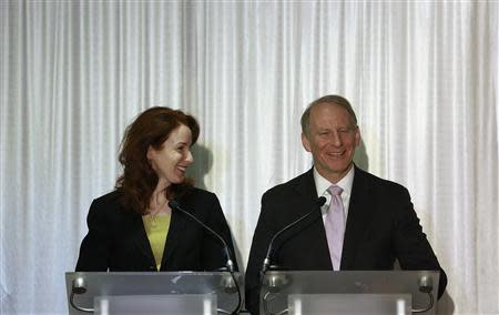 Professor Meghan O'Sullivan (L) and former U.S. diplomat Richard Haass react at a news conference in Belfast following the end of talks to resolve divisive issues that have hampered the Northern Ireland peace process which have broken up without agreement, December 31, 2013. REUTERS/Cathal McNaughton
