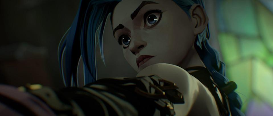 A close-up image of Jinx, the main character from Netflix's League of Legends animated series, Arcane.