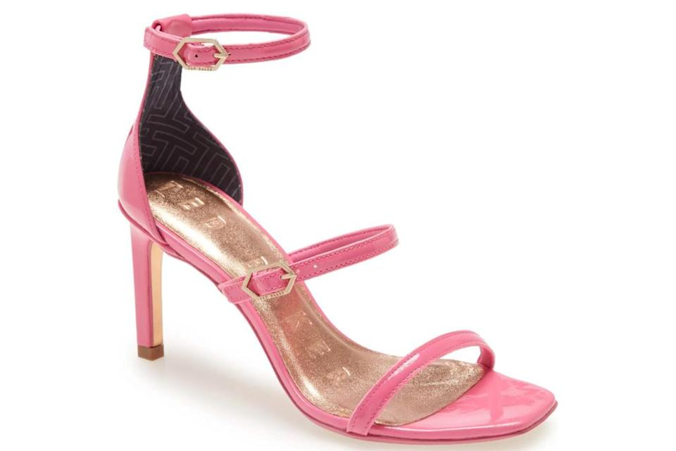 pink sandals, square-toe, ted baker