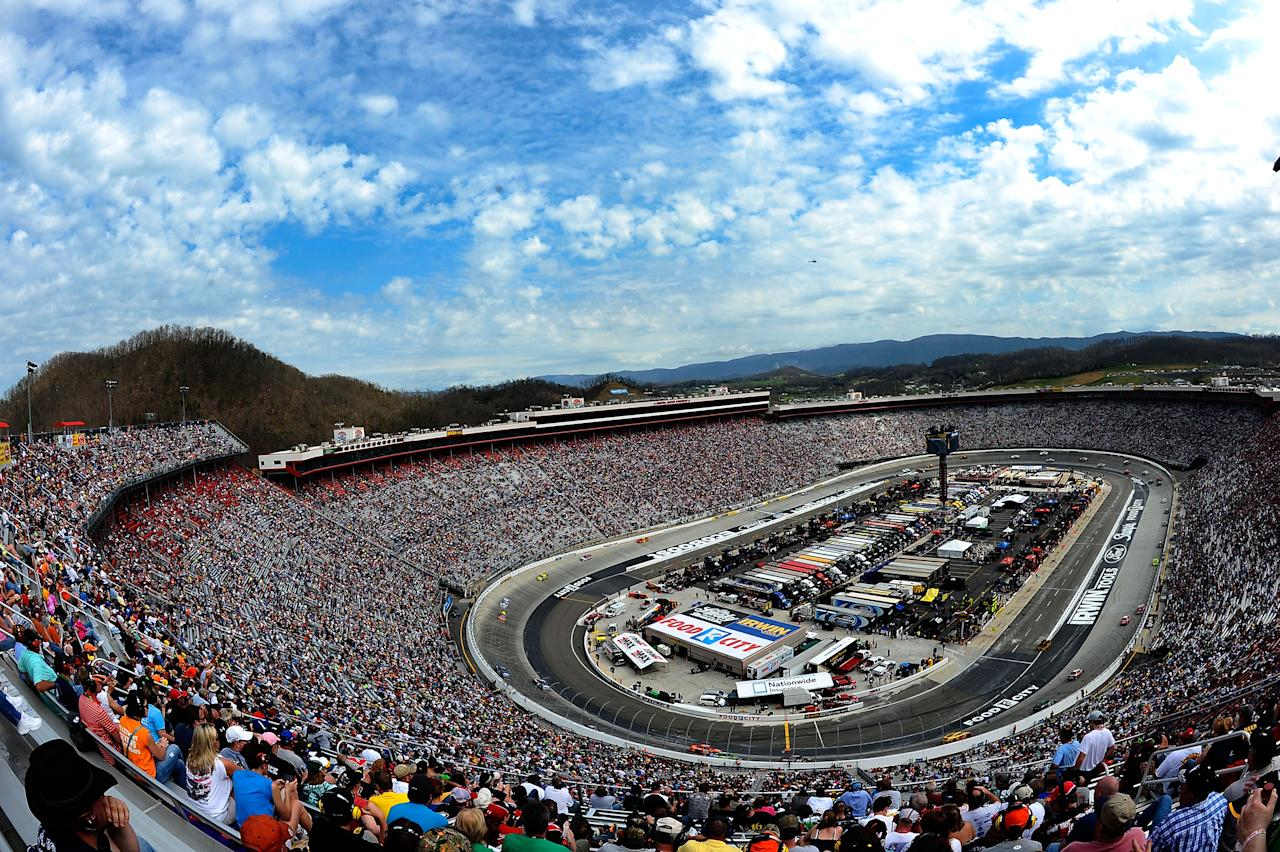 BRISTOL, TN - MARCH 18:  Cars race during the NASCAR Sprint Cup Series Food City 500 at Bristol Motor Speedway on March 18, 2012 in Bristol, Tennessee.  (Photo by Jared C. Tilton/Getty Images)