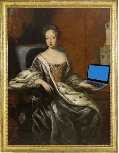 Ancient painting with superimposed laptop