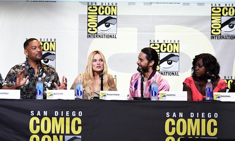 <p>Will Smith, Margot Robbie, Jared Leto, and Viola Davis at the Warner Bros. panel on July 23. The cast showed off another trailer for the Aug. 5 movie. <i>(Photo: Kevin Winter/Getty Images)</i></p>
