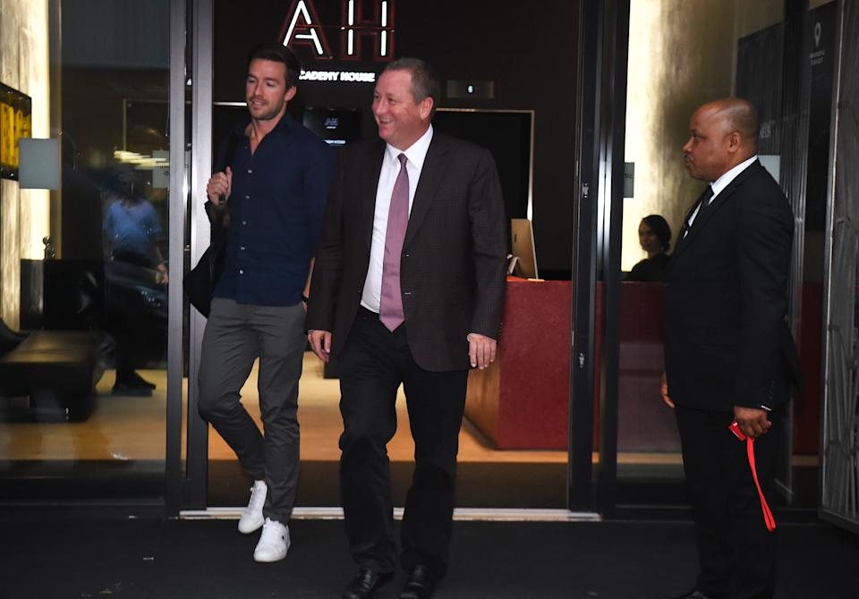 Sports Direct CEO Mike Ashley, right, leaving the Sports Direct headquarters in London with his future son in law Michael Murray. Photo: Kirsty O'Connor/PA via Getty Images