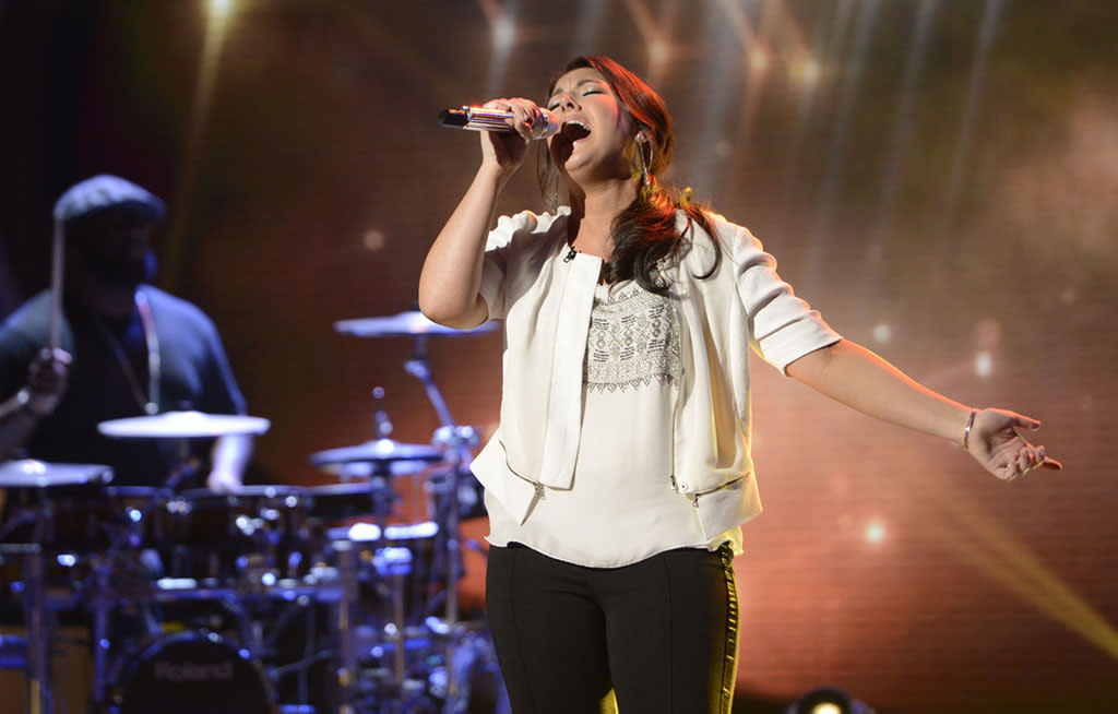 "Kree Harrison performs ""She Talks to Angels"" on the Wednesday, April 17 episode of ""American Idol."""