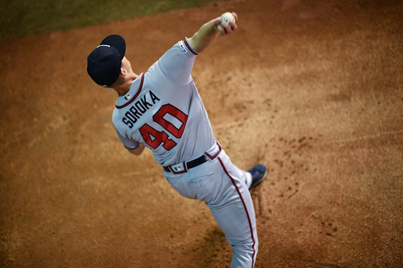 MIAMI, FL - AUGUST 10: Mike Soroka #40 of the Atlanta Braves warms up in the bullpen before the game against the Miami Marlins at Marlins Park on August 10, 2019 in Miami, Florida. (Photo by Mark Brown/Getty Images)