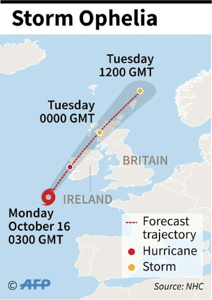 Map showing the path of Storm Ophelia