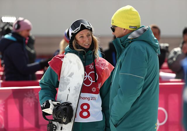 Australia's Jess Rich talks with her coach during the Snowboard Ladies' Big Air Qualification on day 10 of the PyeongChang 2018 Winter Olympic Games at Alpensia Ski Jumping Centre on February 19, 2018 in Pyeongchang-gun, South Korea. (Getty Images)