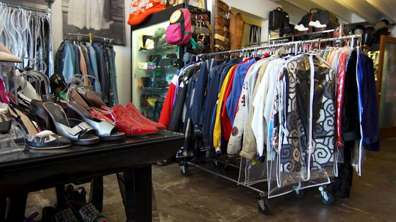 A view of some of Catwalk's collection of jackets and shoes.