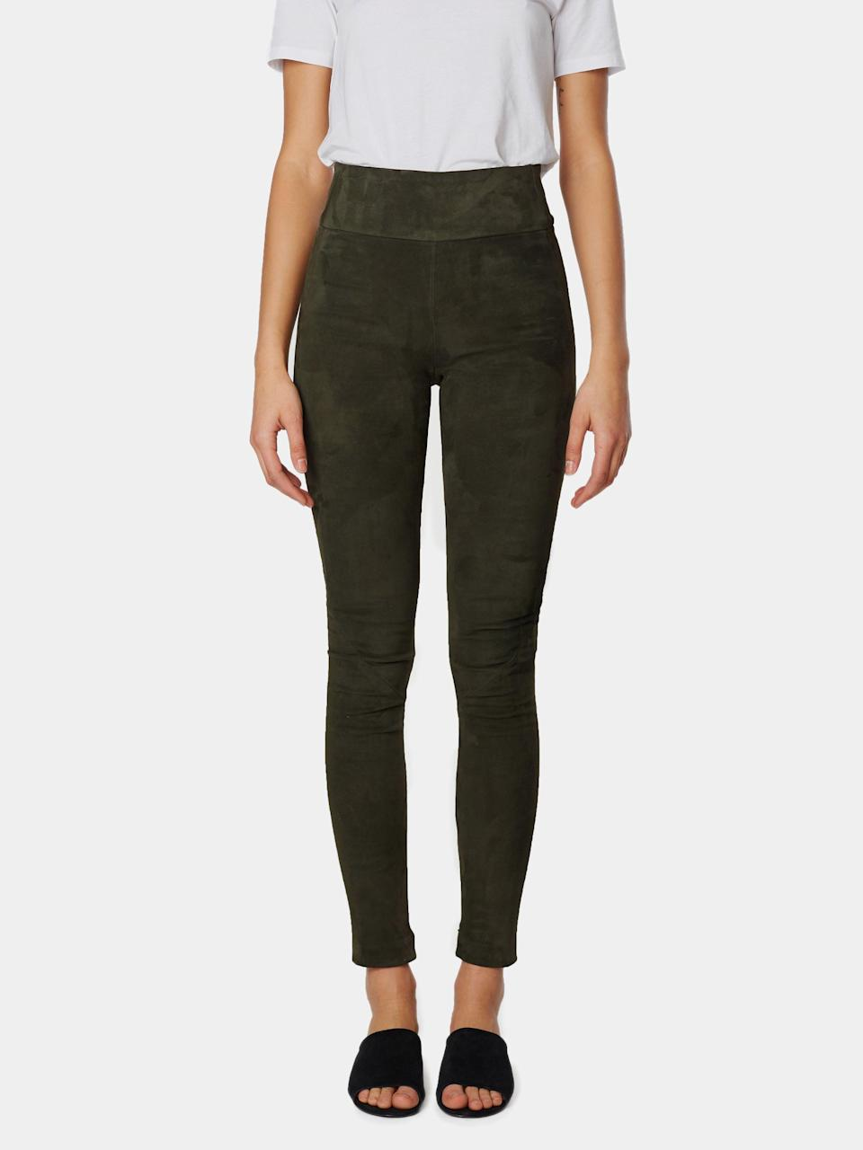 """<p><strong>Offtrack </strong></p><p>offtrack.co</p><p><a href=""""https://www.offtrack.co/collections/all/products/ot-leggings-forest-green-suede"""" rel=""""nofollow noopener"""" target=""""_blank"""" data-ylk=""""slk:Shop Now"""" class=""""link rapid-noclick-resp"""">Shop Now</a></p><p>Every woman needs a wardrobe of reliable staples that she can mix and match for casual to fancy looks in a snap. Take the guesswork out by giving her the gift of a quality pair of suede leggings from Offtrack that are not just obscenely comfortable, but also uber flattering, versatile, luxurious and sustainable to boot. She'll want a pair in every color, no doubt. </p>"""