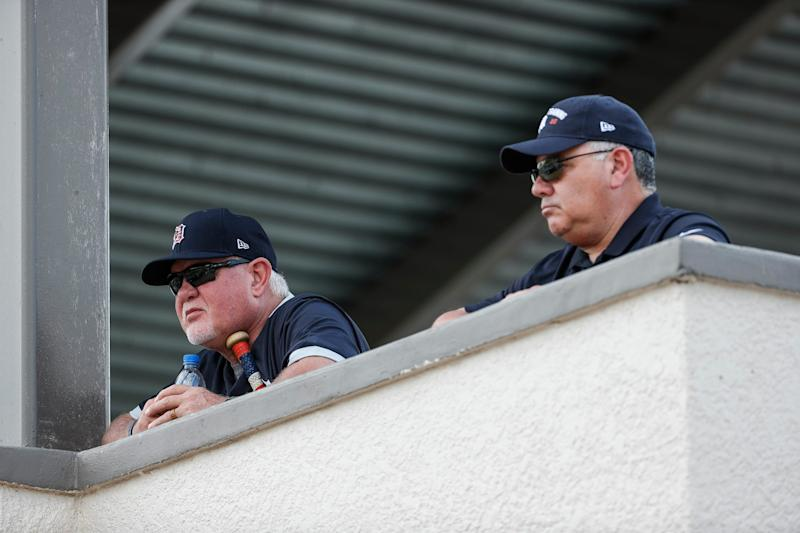 Tigers manager Ron Gardenhire and general manager Al Avila watch spring training at TigerTown in Lakeland, Fla., on Feb. 17, 2020.