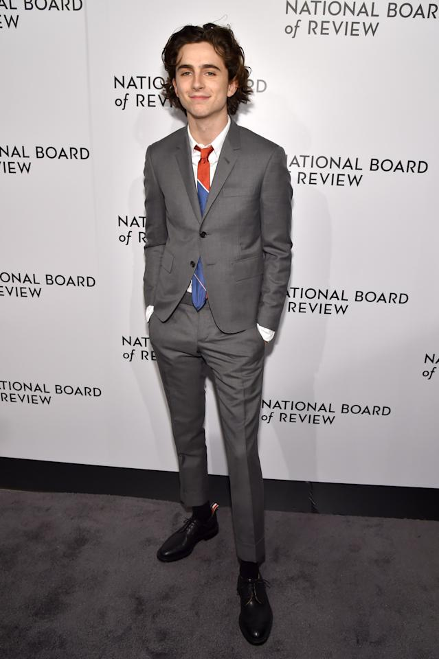 Timothée Chalamet attends the National Board of Review Annual Awards Gala at Cipriani 42nd Street on January 9, 2018 in New York City.  (Photo by Kevin Mazur/Getty Images for National Board of Review)