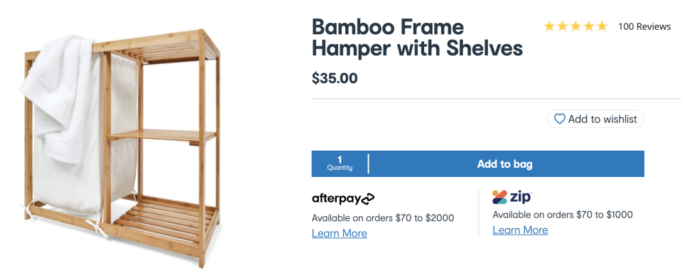 The bamboo hamper is a steal at $35. Photo: Facebook.