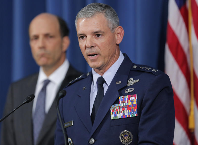 Commander of U.S. Forces in Japan Lt. Gen. Salvatore Angelella, right, speaks to the media next to U.S. Ambassador to Japan John Roos at the U.S. Embassy in Tokyo, Friday, Oct. 19, 2012. Angellala said American military personnel will be subject to a curfew and other restrictions following allegations two U.S. sailors raped a woman in Okinawa. (AP Photo/Itsuo Inouye)