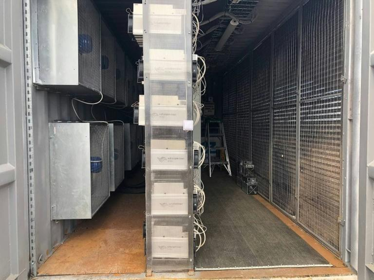 A handout photo from October 2020 shows computers dedicated to mining bitcoin in an EZ Blockchain data center