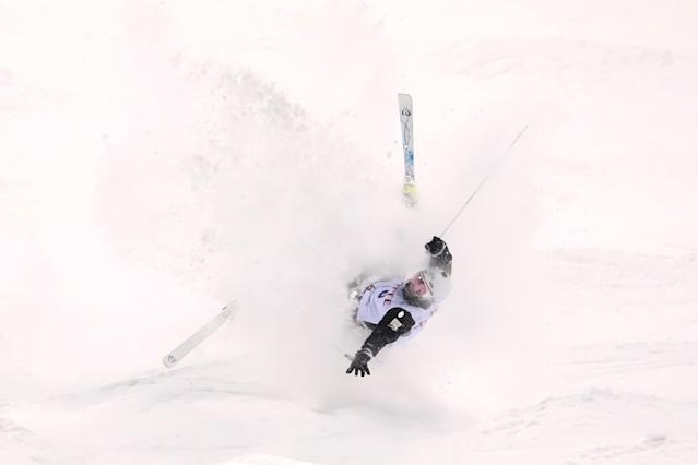 <p>Matt Graham of Australia crashes during a men's moguls training session prior to the FIS Freestyle World Cup at Bokwang Snow Park </p>