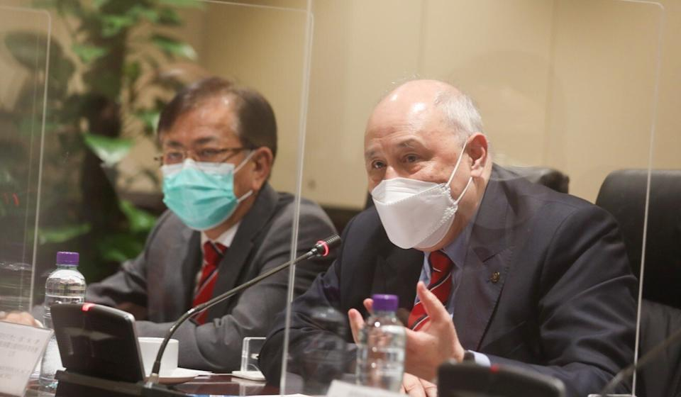 (From left) Richard Yu, secretary general of IPCC, and Anthony Francis Neoh, chairman of the IPCC, speak to the press on Tuesday. Photo: Xiaomei Chen