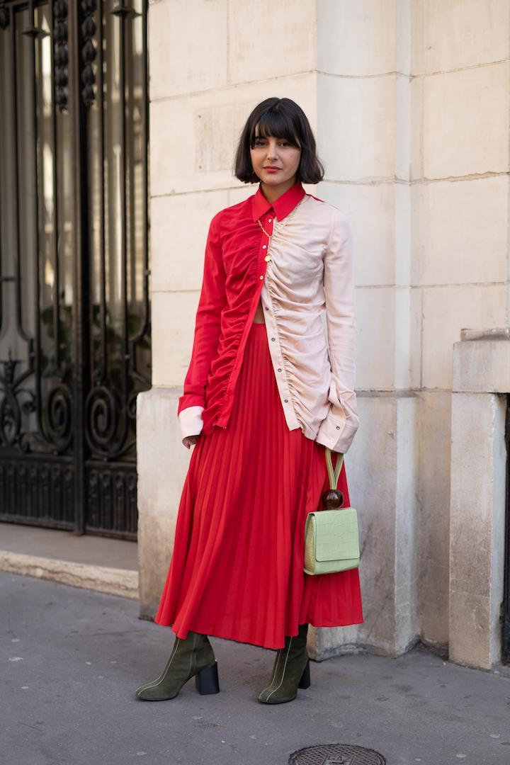 <p>Maria Bernad demonstrated how to rock colour-blocking this season while out and about in Paris. <em>[Photo: Getty]</em> </p>