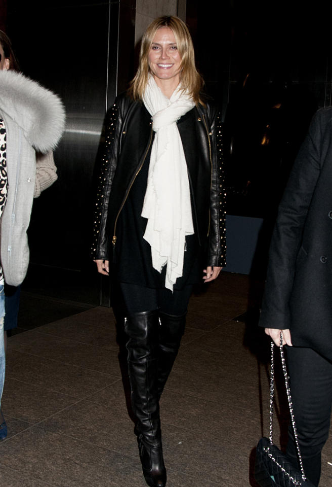 Heidi Klum dines at Nobu on Halloween Night in NYC. Heidi Klum's famous Halloween party was cancelled due to Hurricane Sandy and a blackout in downtown Manhattan. Heidi wore casual ware and no costume at Nobu 57, NYC.