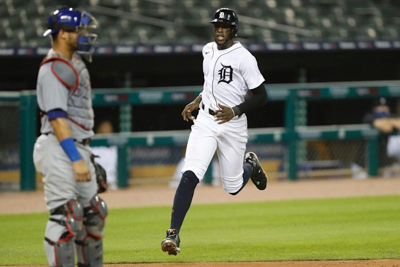 Tigers right fielder Cameron Maybin runs to home plate and scores during the sixth inning of the Tigers' 7-6 win over the Cubs on Wednesday, Aug. 26, 2020, at Comerica Park.