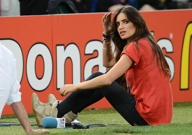 Spanish television presenter and girlfriend of Spain's goalkeeper Iker Casillas, Sara Carbonero, is pictured before the Euro 2012 football championships quarter-final match Spain vs France on June 23, 2012 at the Donbass Arena in Donetsk. AFP PHOTO / FRANCK FIFEFRANCK FIFE/AFP/GettyImages