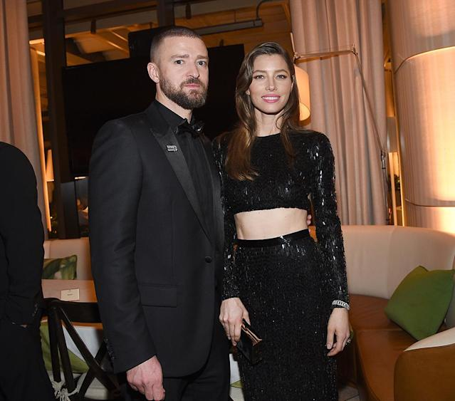 <p>Justin Timberlake and Jessica Biel, a nominee for <em>The Sinner</em>, enjoy NBC and USA Network's post-Golden Globe Awards party in the Jean-Georges Restaurant at the Waldorf Astoria Beverly Hills on Jan. 7. (Photo: Kevork Djansezian/NBC/NBCU Photo Bank via Getty Images) </p>