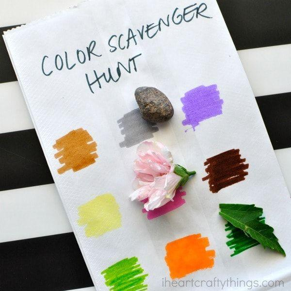 "<p>This fun color-themed scavenger hunt can help toddlers learn their colors, while older kids discover all the different hues that can be found all around them.</p><p><em><a href=""http://iheartcraftythings.com/simple-color-scavenger-hunt-kids.html"" rel=""nofollow noopener"" target=""_blank"" data-ylk=""slk:See more at I Heart Crafty Things »"" class=""link rapid-noclick-resp"">See more at I Heart Crafty Things »</a></em></p>"