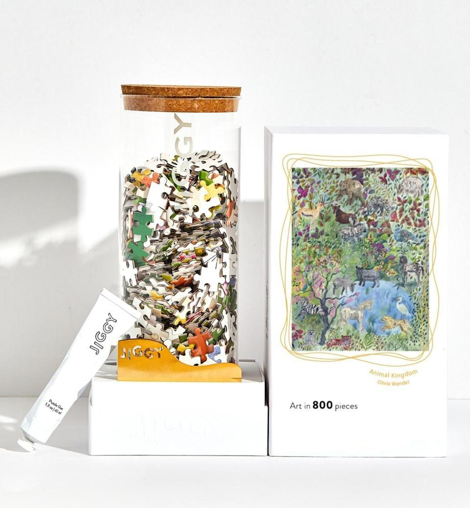"""<p>""""If you have yet to try Jiggy, then fall is the perfect time. The brand supports smaller artists, and the puzzle can even be glued together when you're done and used as art. The <span> Animal Kingdom, Olivia Wendel Puzzle</span> ($49) will be the newest addition to my space."""" - KJ</p>"""