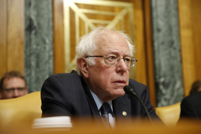 Senate Budget Committee ranking member Sen. Bernie Sanders, I-Vt., at a committee oversight hearing on Jan. 24, 2018, on Capitol Hill in Washington. (AP Photo/Jacquelyn Martin)