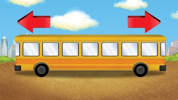 Which way is this school bus headed?