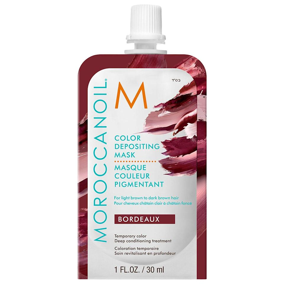 """<p><strong>Moroccanoil</strong></p><p>sephora.com</p><p><strong>$28.00</strong></p><p><a href=""""https://go.redirectingat.com?id=74968X1596630&url=https%3A%2F%2Fwww.sephora.com%2Fproduct%2Fcolor-depositing-mask-P447377&sref=https%3A%2F%2Fwww.harpersbazaar.com%2Fbeauty%2Fhair%2Fg8753%2Fbest-at-home-temporary-hair-color%2F"""" rel=""""nofollow noopener"""" target=""""_blank"""" data-ylk=""""slk:Shop Now"""" class=""""link rapid-noclick-resp"""">Shop Now</a></p><p>This mask gives you all the hair-saving benefits of Moroccanoil's argan oil with the addition of fun, playful colors that can switch up your whole look.</p>"""