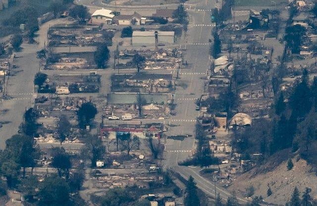 Structures destroyed by wildfire are seen in Lytton, British Columbia