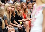 LONDON, ENGLAND - SEPTEMBER 13: Lady Mary Charteris, Abbey Clancy, Laura Whitmore, Millie Mackintosh and Leah Weller attend the Julien Macdonald show during London Fashion Week Spring Summer 2015 on September 13, 2014 in London, England. (Photo by Karwai Tang/WireImage)